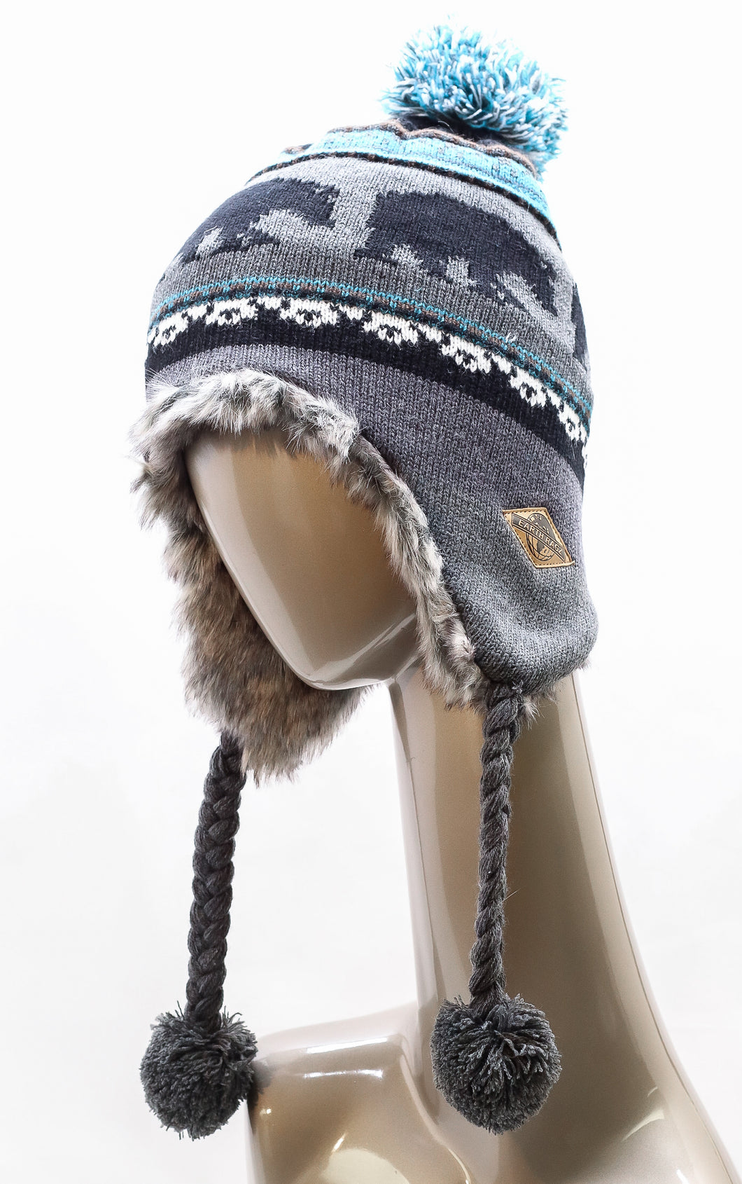 KNITTED FLEECE-LINED BEAR EAR-FLAPS HAT WITH TASSELS AND POM-POM
