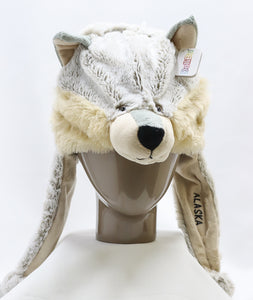 YOUTH PLUSH WOLF HAT WITH EARS AND EAR-FLAPS