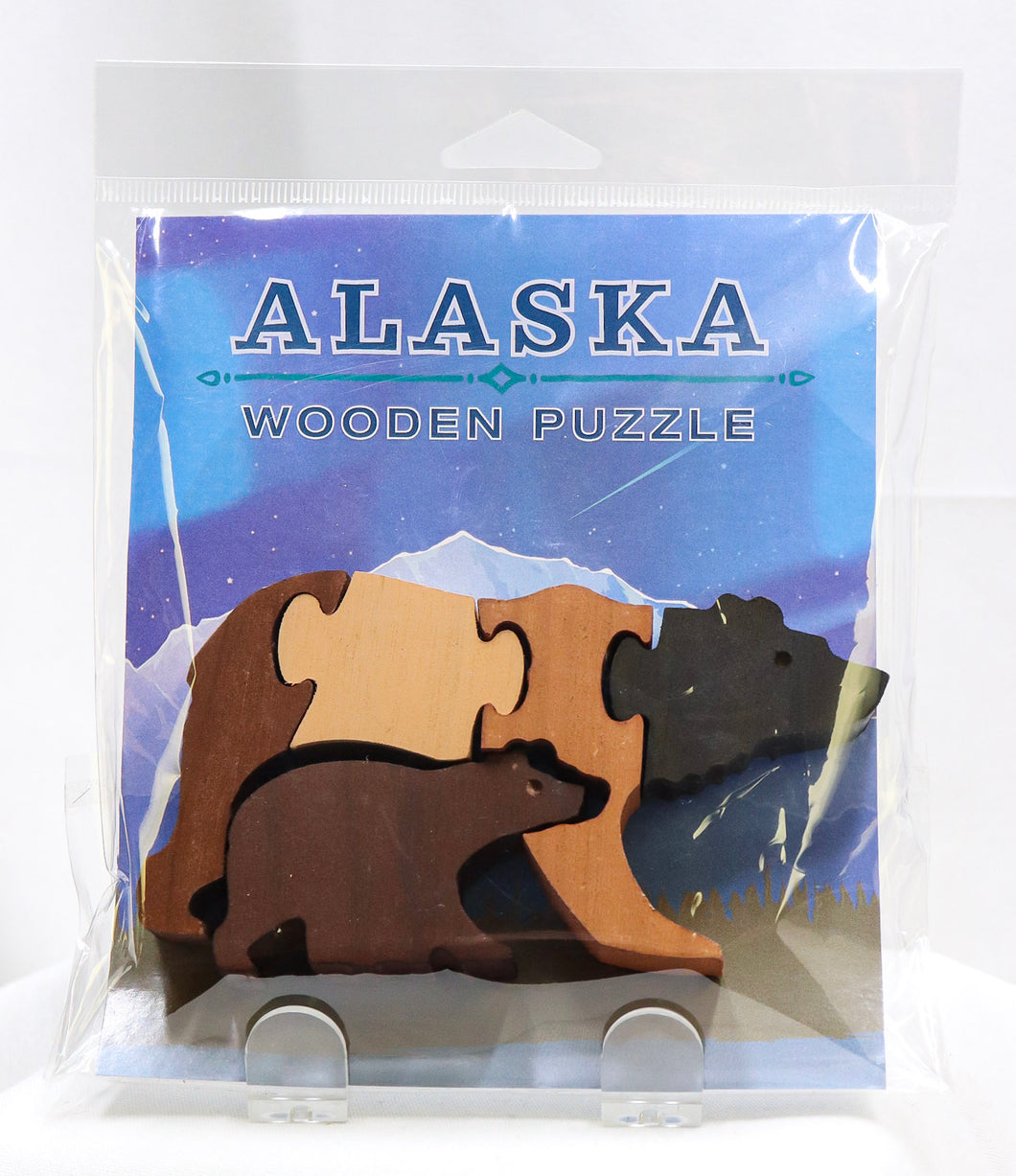 ALASKA GRIZZLY BEAR FAMILY 5-PIECE WOODEN PUZZLE