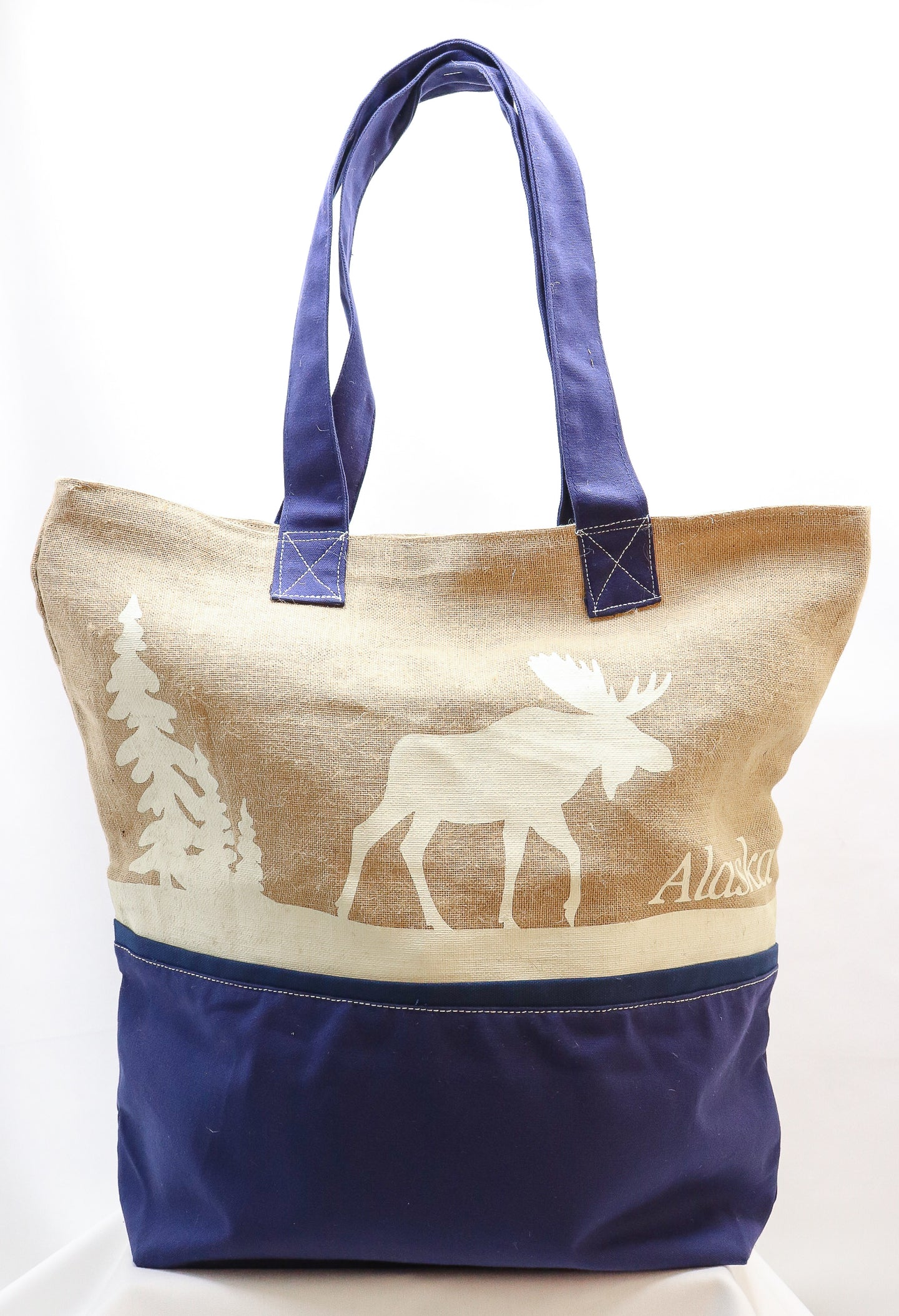 EXTRA-LARGE MOOSE BURLAP AND CANVAS TOTE