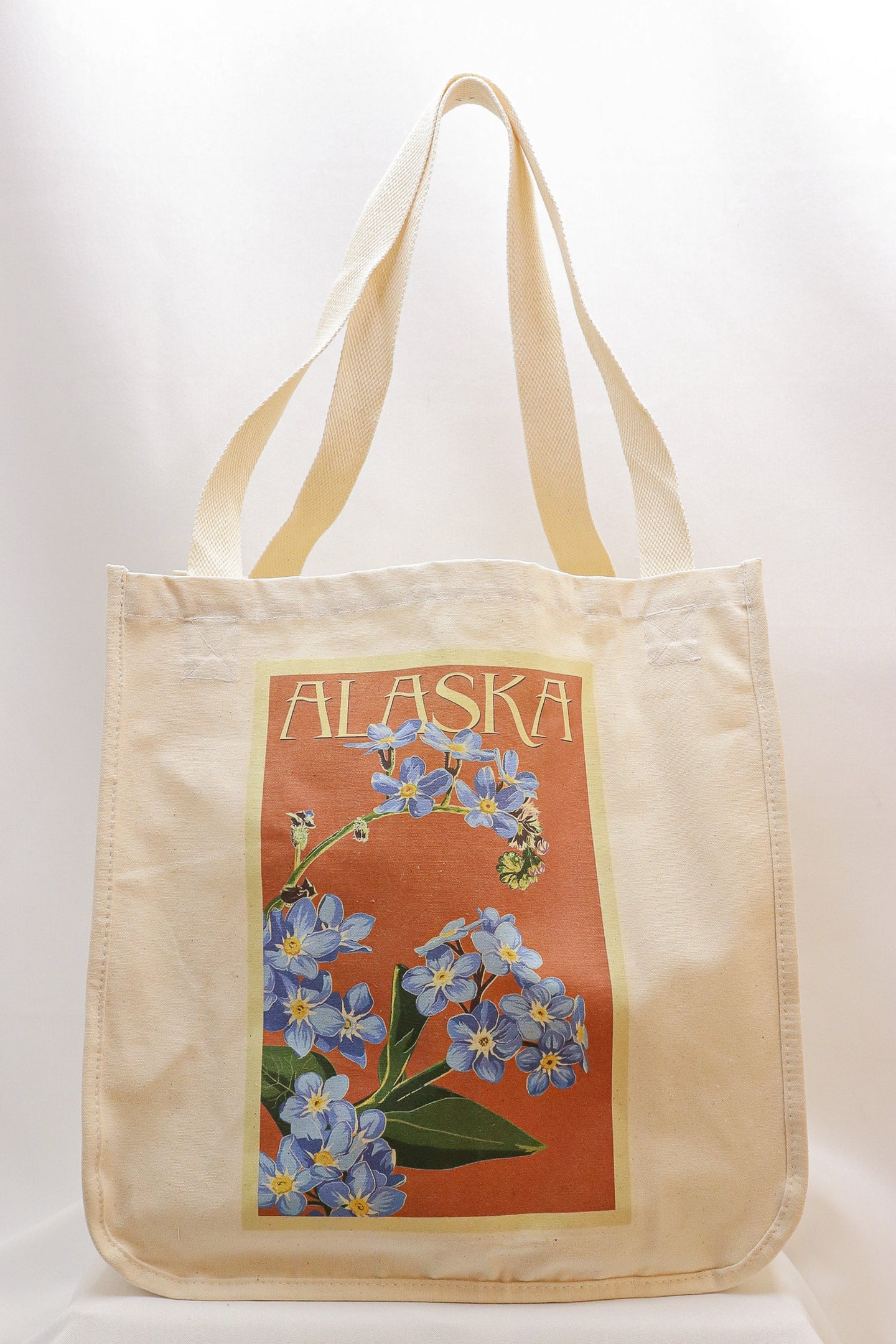 EXTRA WIDE GUSSET FORGET-ME-NOT CANVAS TOTE