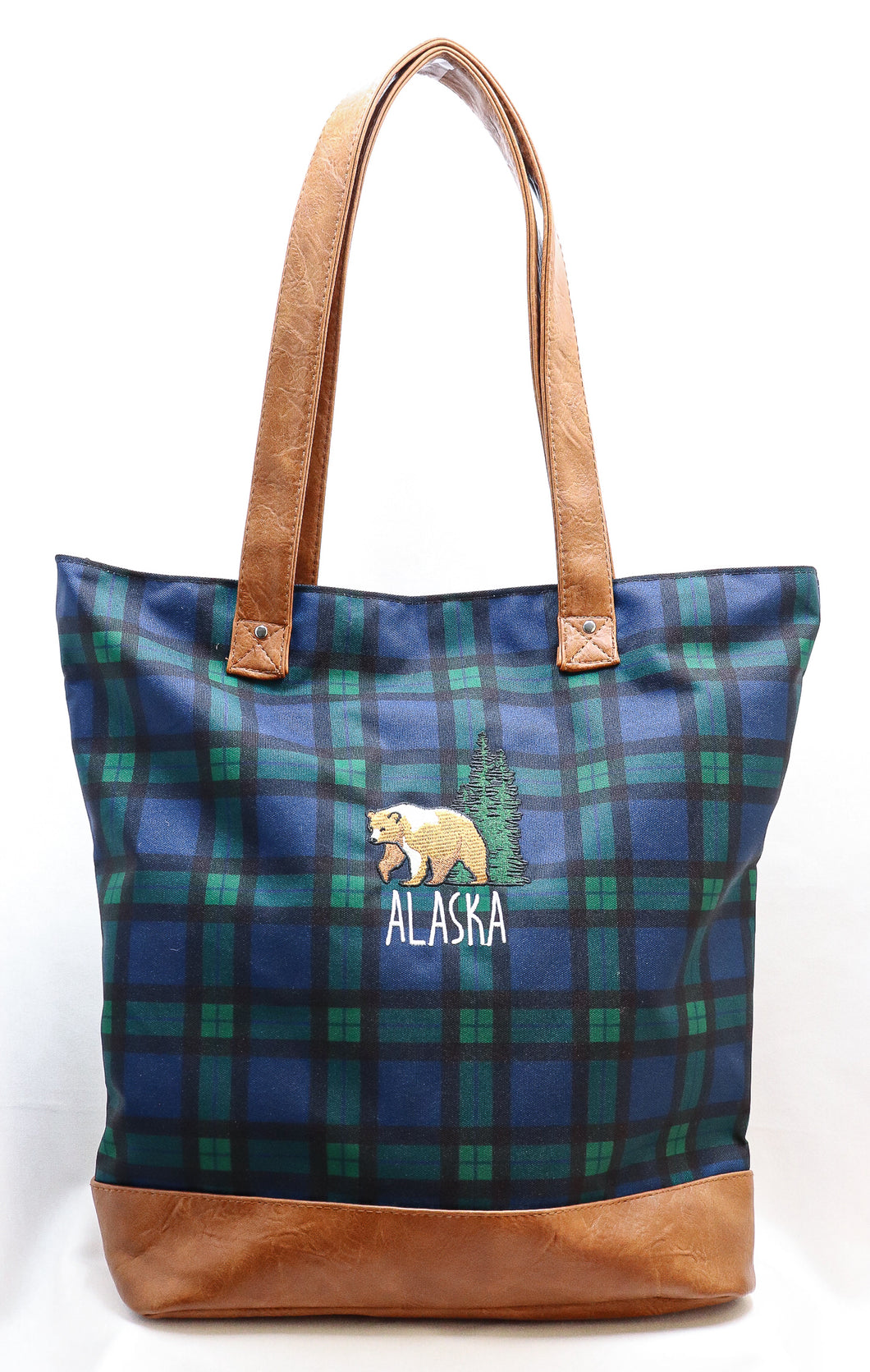 LARGE PLAID GRIZZLY BEAR PLEATHER-TRIMMED CANVAS TOTE