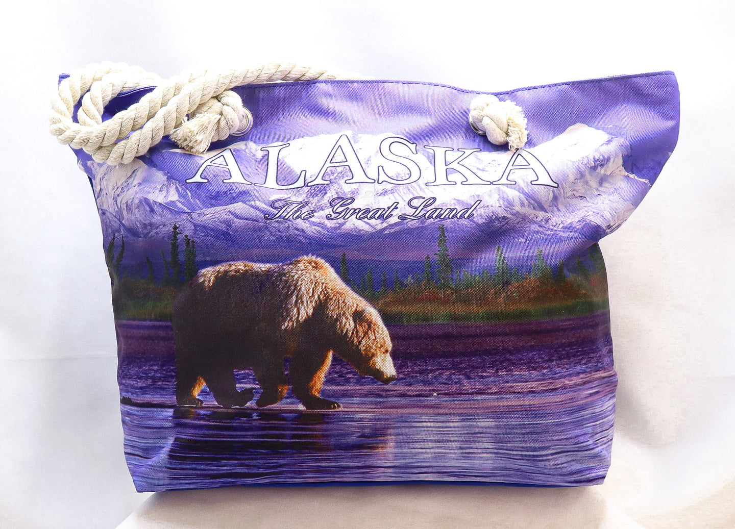 ALASKAN GRIZZLY BEAR ROPE HANDLED CANVAS TOTE
