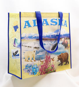 REUSABLE RECYCLED MATERIALS ALASKAN COLLAGE BAG