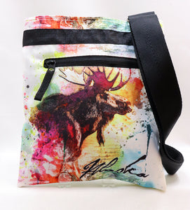 DOUBLE-SIDED INKED MOOSE AND WOLF PRINTED CROSSBODY BAG
