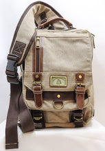 Load image into Gallery viewer, KHAKI TAN CANVAS SHOULDER SLING BAG