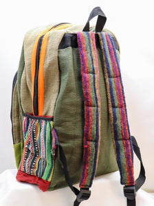 COLORBLOCKED HANDMADE CANVAS BACKPACK