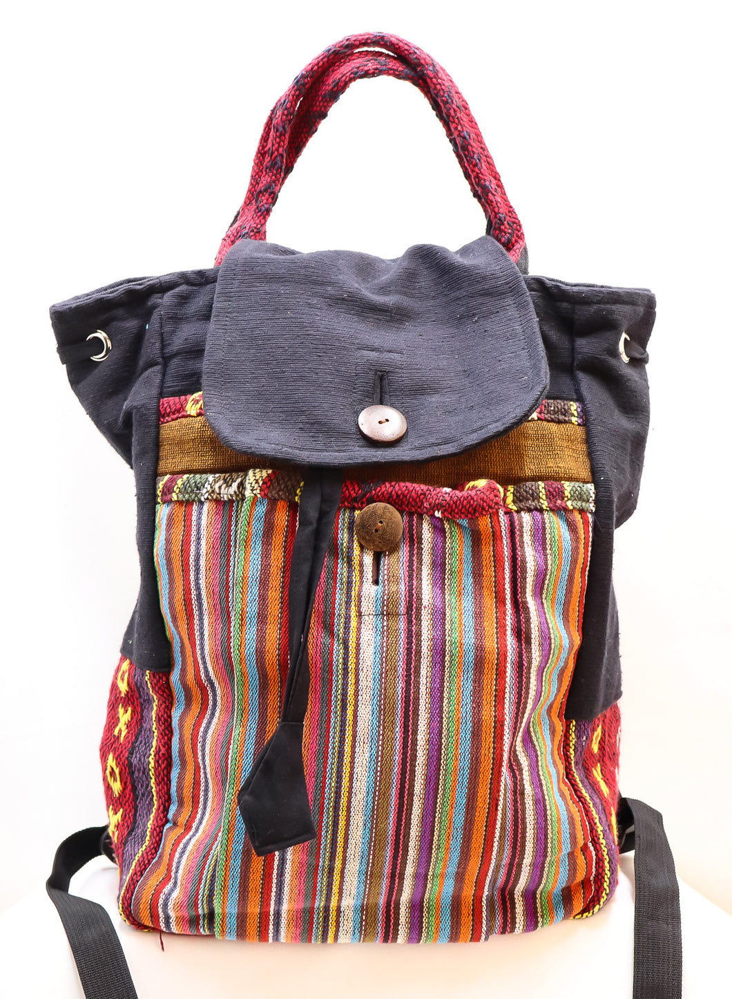 HANDMADE WOVEN MULTI-COLORED DRAWSTRING HANDBAG & BACKPACK