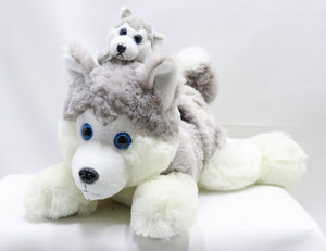 HUSKY WITH CORDED PUP 12-INCH