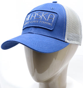 BLUE AK FISHING HOOKS ADJUSTABLE MESH BASEBALL HAT