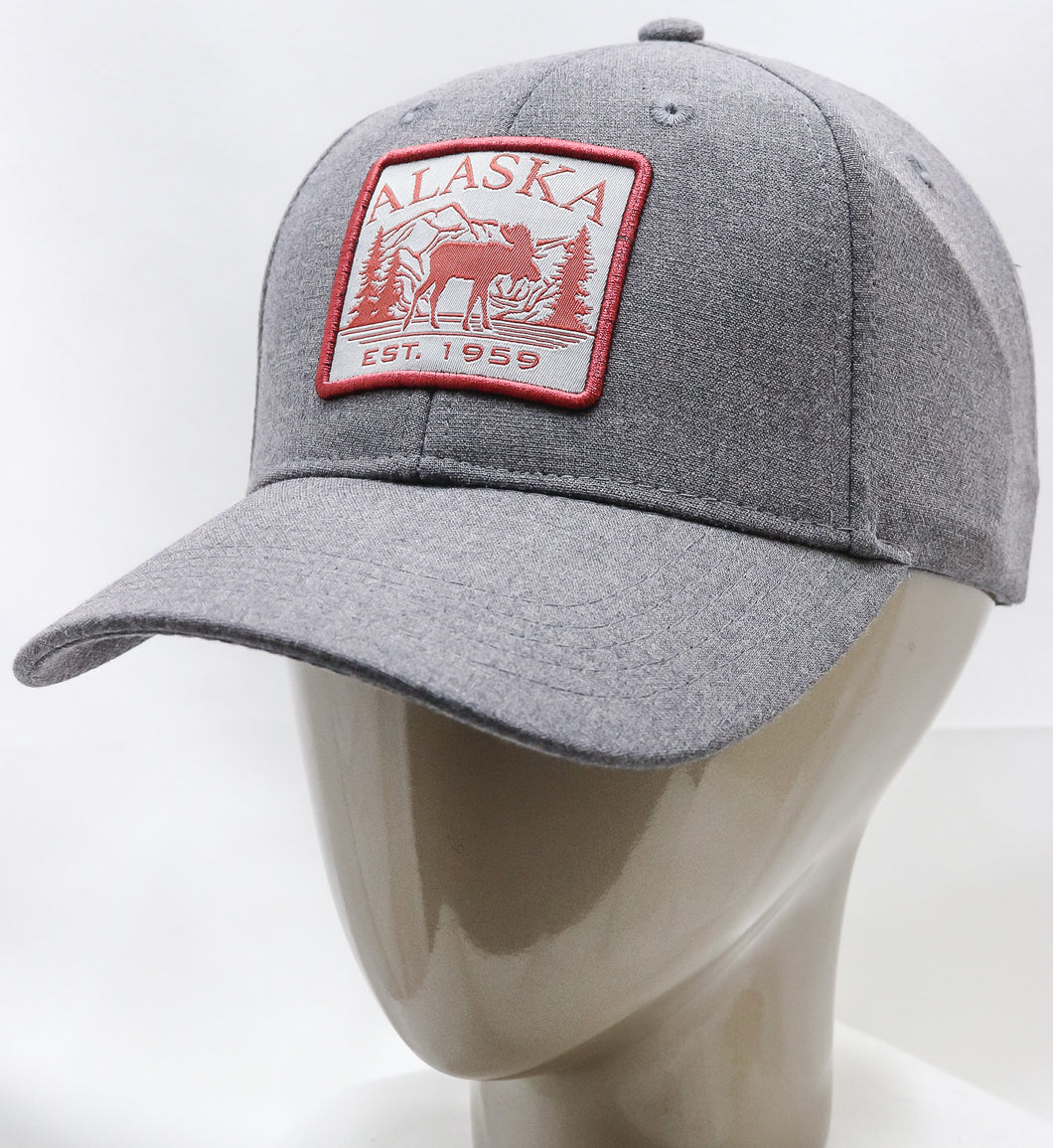 GREY SQUARE MOOSE ADJUSTABLE BASEBALL HAT