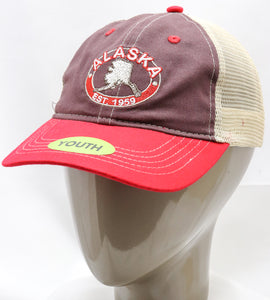 BROWN AK STATE MAP ADJUSTABLE YOUTH BASEBALL HAT