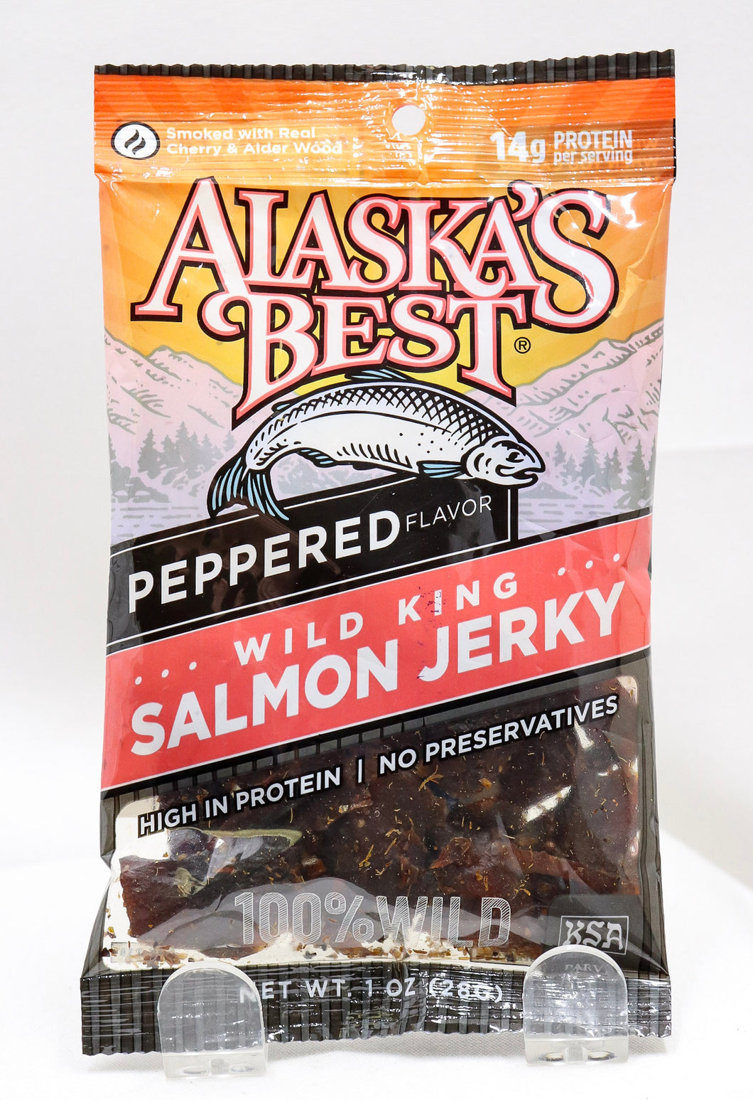 ALASKA'S BEST WILD KING SALMON PEPPERED JERKY 1 OZ