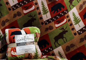 CARSTENS MOOSE AND BLACK BEAR PATCHWORK FLEECE THROW