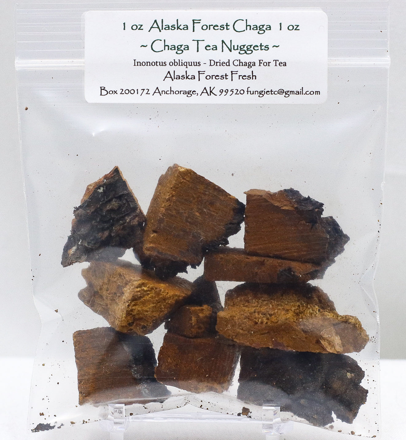 DRIED ALASKA FOREST CHAGA PIECES FOR TEA 1 OZ BAG