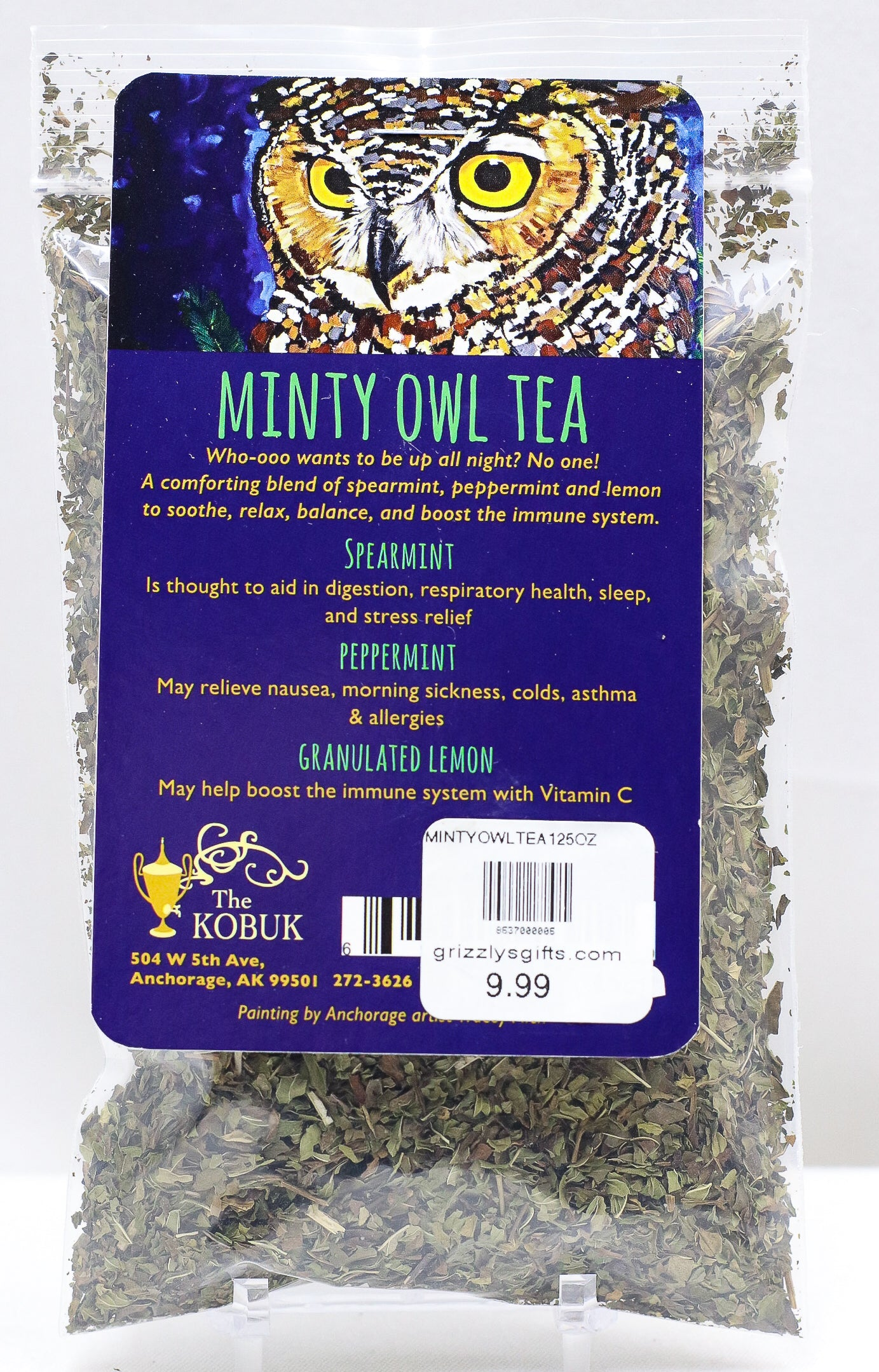 THE KOBUK MINTY OWL LOOSE LEAF TEA 1.25 OZ BAG