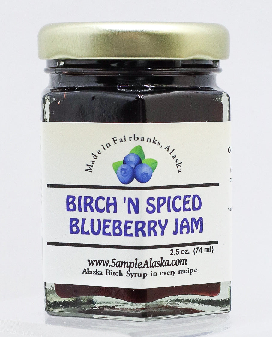 ALASKAN BIRCH SYRUP AND SPICED BLUEBERRY JAM 2.5 OZ GLASS JAR