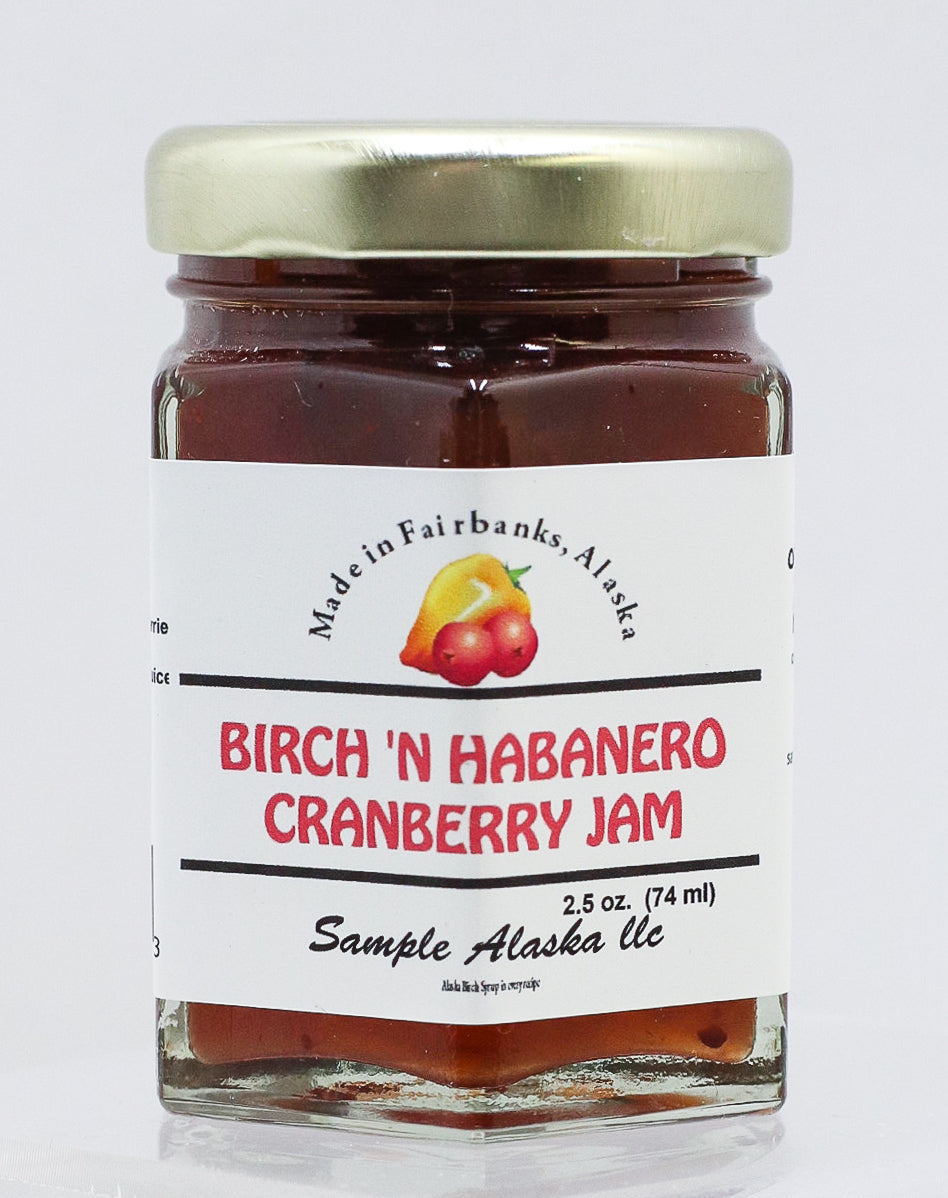 ALASKAN BIRCH SYRUP AND HABANERO CRANBERRY JAM 2.5 OZ