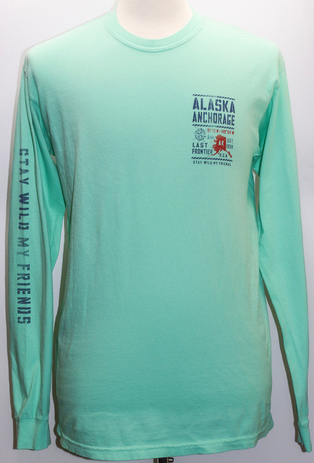 STENCIL MAP ALASKA WEATHERED LONG SLEEVE