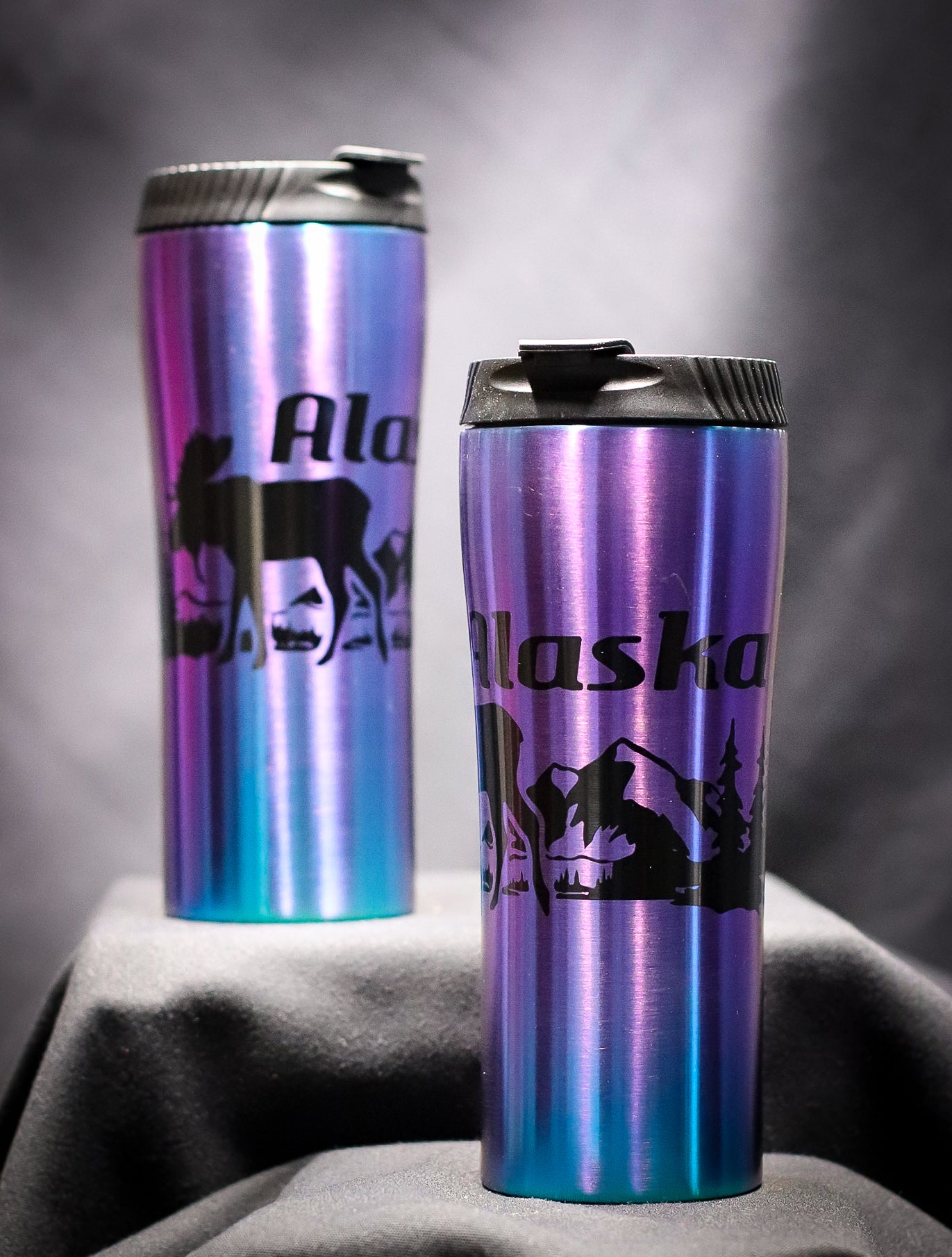 ELECTROPLATED MOOSE IRIDESCENT STAINLESS STEEL 16 OZ THERMAL MUG