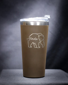 DOUBLE EXPOSURE BEAR STAINLESS STEEL 16 OZ THERMAL MUG