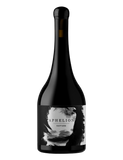 Bottle of Aphelion Rapture Mataro Grenache Shiraz with black and white label and black wax over cork