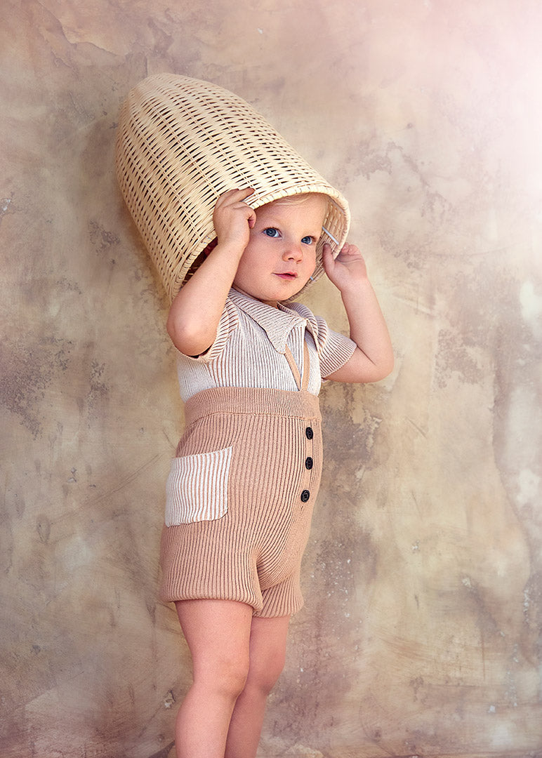 NUDE BABY RIBBED PANTS WITH STRAPS