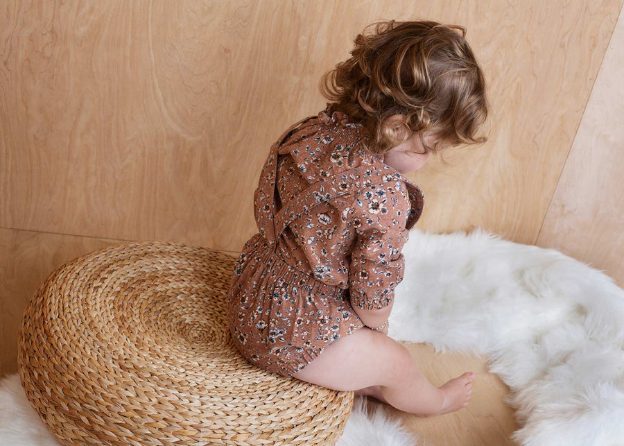 TAUPE SMOCKED NECK BLOUSE