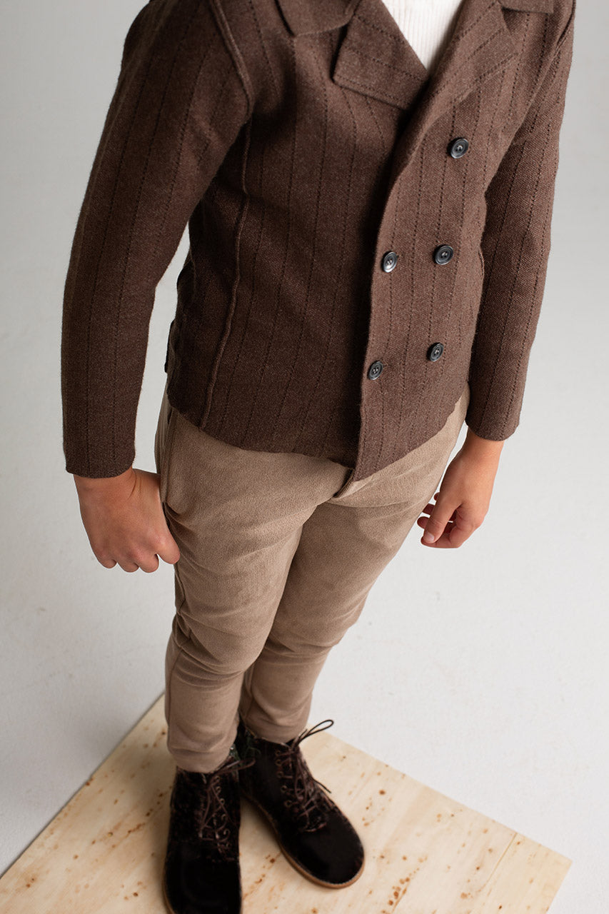 WALNUT STRIPED POINTELLE BLAZER