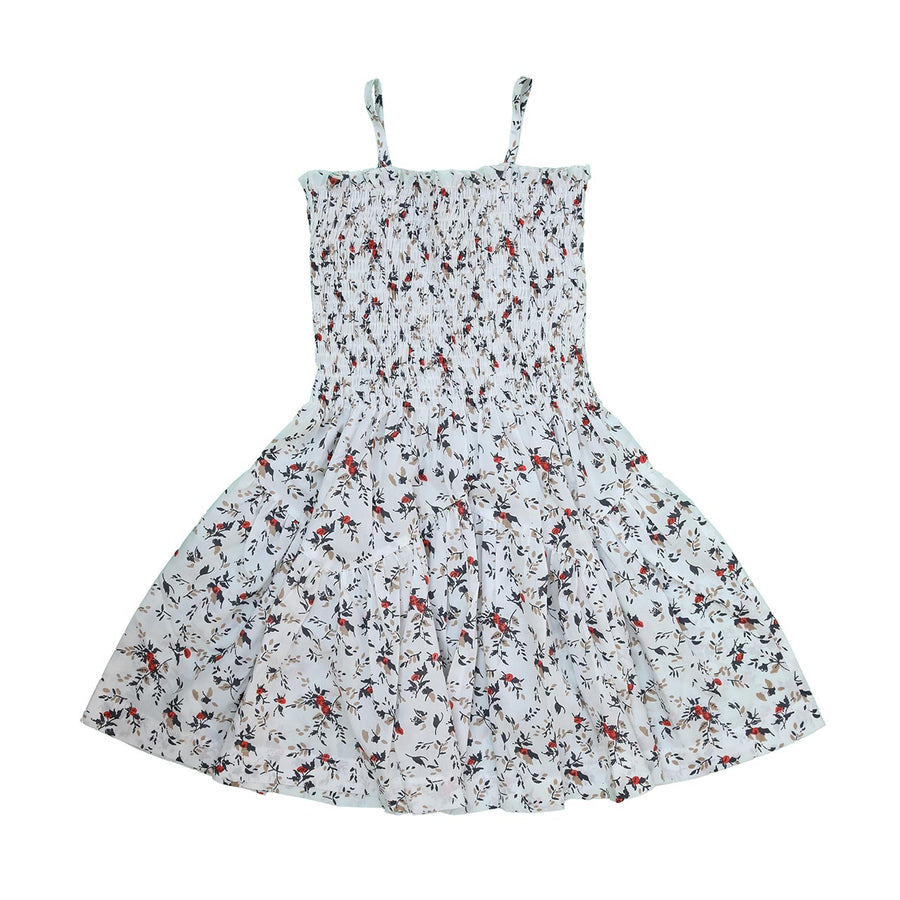 BIRD SMOCKED TOP DRESS WITH STRAPS