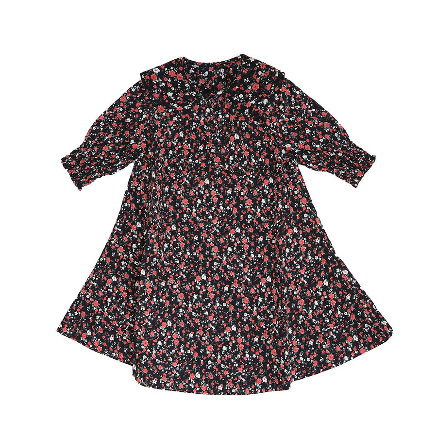 BLACK FLORAL SMOCKED NECK AND CUFF FLORAL DRESS