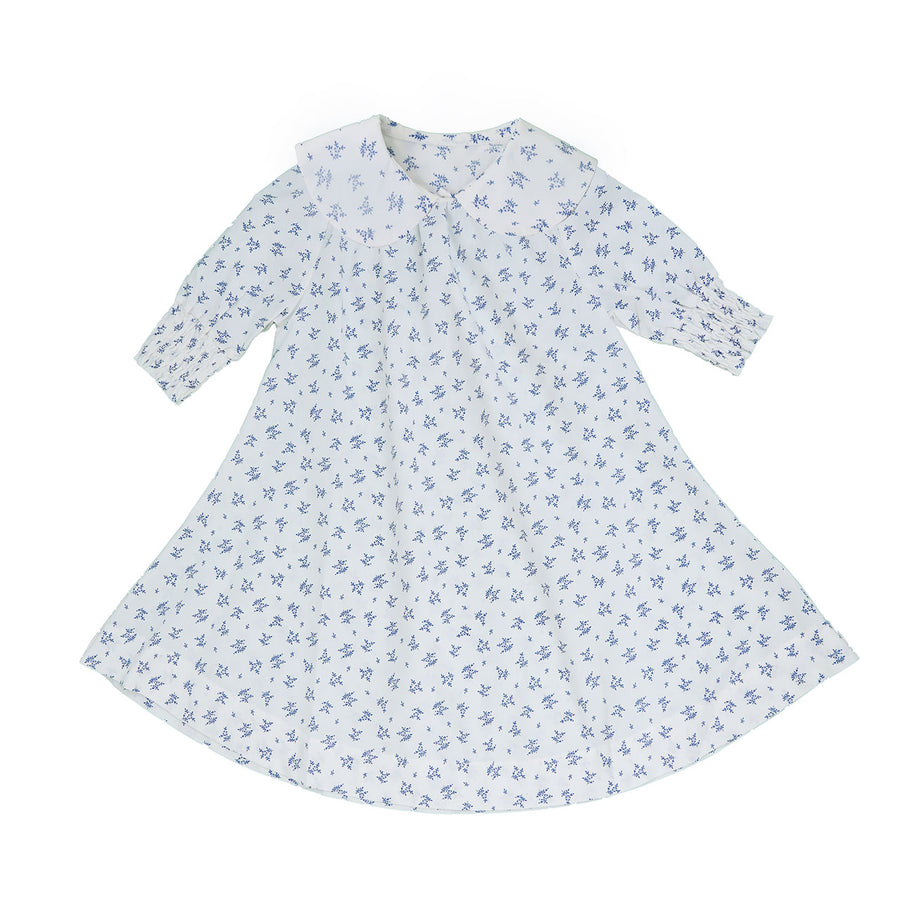 WHITE BLUE SMOCKED NECK AND CUFF FLORAL DRESS