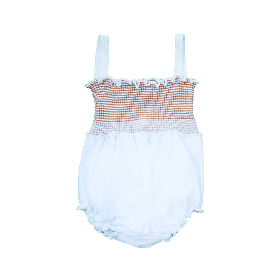NUDE STRIPED KNIT TO WOVEN BABY ROMPER