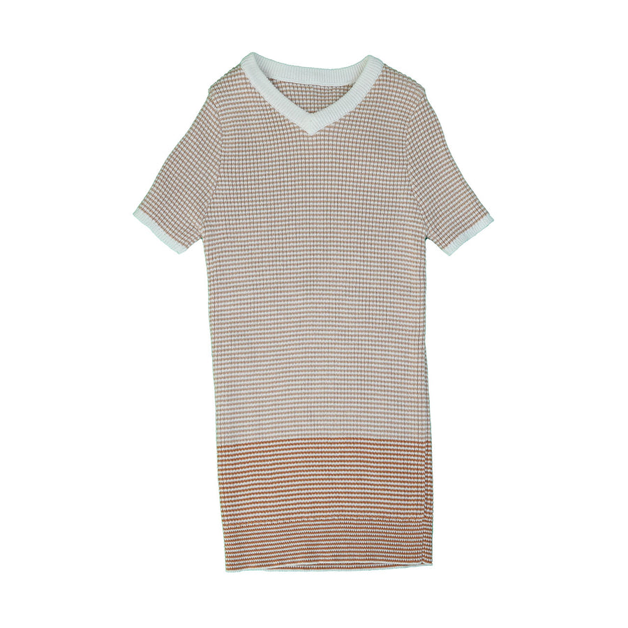 NUDE STRIPED RIBBED KNIT WITH COLOR BLOCKING