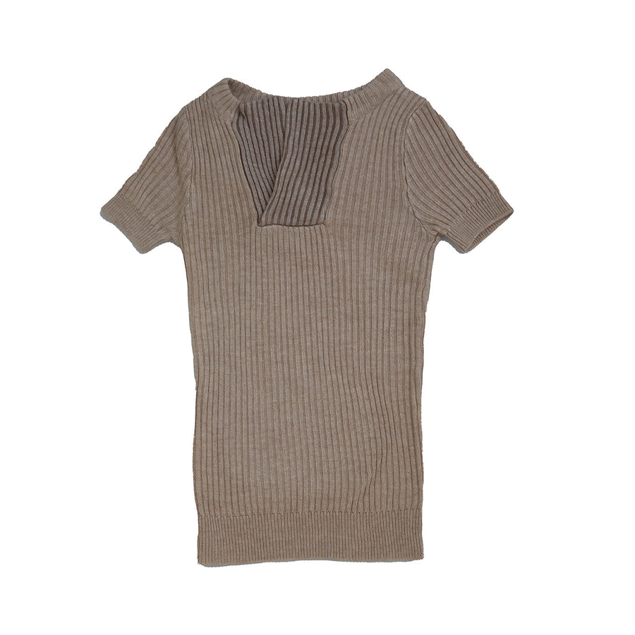 OATMEAL CONTRAST PANELS KNIT