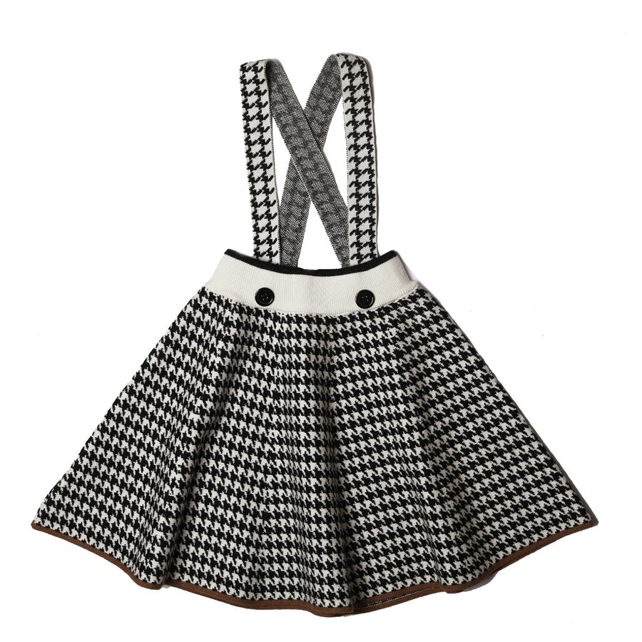 BLACK KNITTED HOUNDSTOOTH SKIRT WITH SUSPENDERS