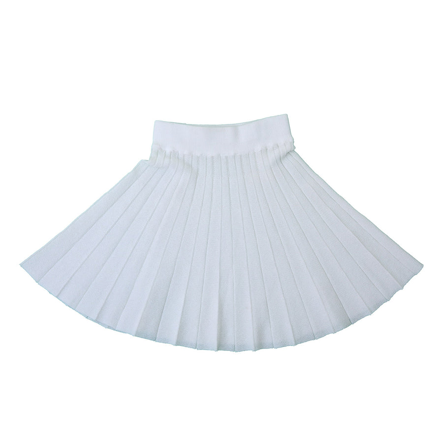 IVORY KNITTED PLEATED SKIRT