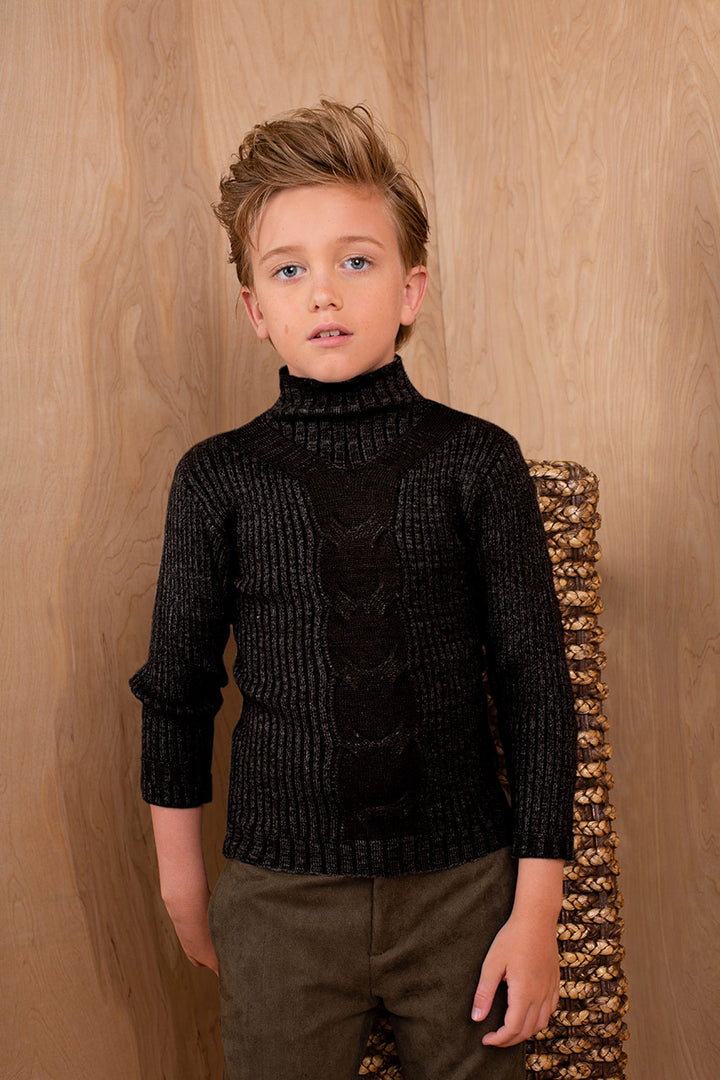 BLACK RIBBED CREW NECKED CENTR CONTRAST KNIT