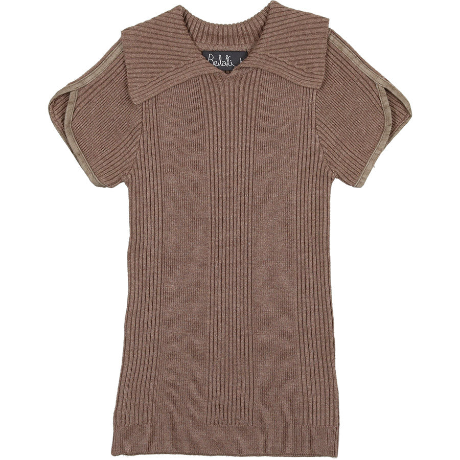 SUMMER BROWN RIBBED KNIT WITH COLLAR AND PIPING