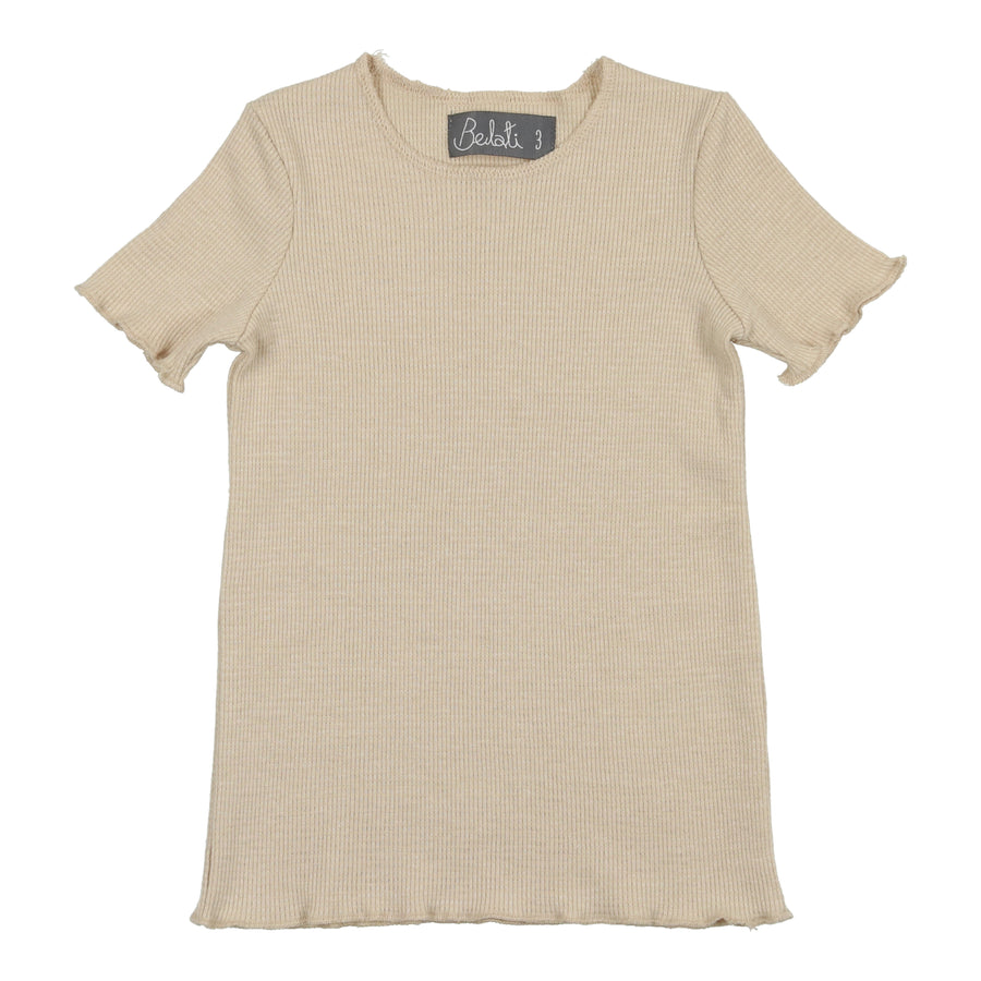 SAND SHORT SLEEVES BASIC WAFFLE SHELL