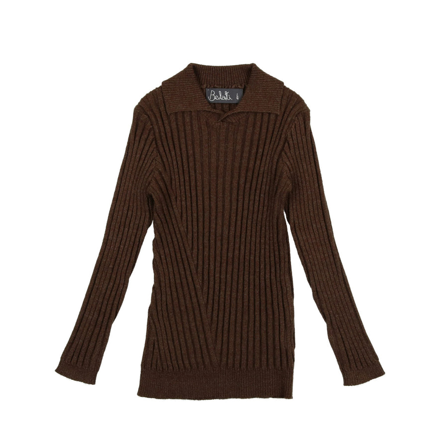 MARLED BROWN RIBBED COLLARED SWEATER