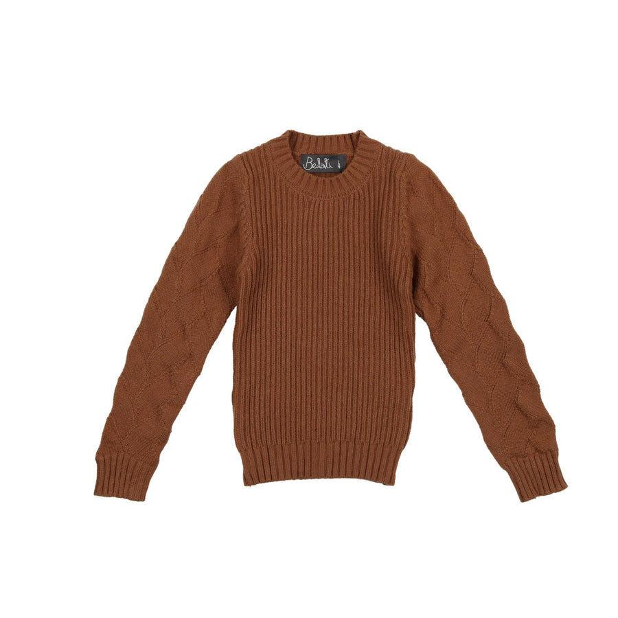 CAMEL KNIT WITH TEXTURED SLEEVES