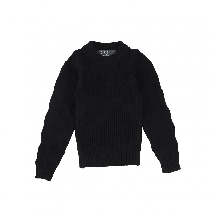 BLACK KNIT WITH TEXTURED SLEEVES