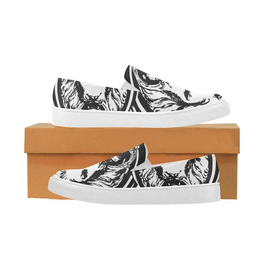 White and Black Lion Pointer Women's Shoes