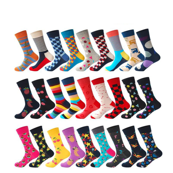 Happy Socks Striped Plaid Diamond Cherry Socks Men Combed Cotton - 27 Colors