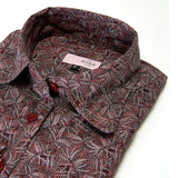 WOMEN IRIS FOLLIAGE BURGUNDY SHIRT