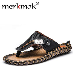 Merkmak Luxury Brand 2017 New Men's Flip Flops Genuine Leather Slippers Summer Fashion Beach Sandals Shoes For Men Big Size 45