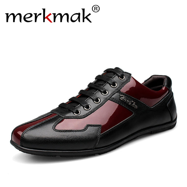 Luxury Brand Fashion Genuine Leather Men Shoes 2017 New Leather Men Casual Shoes High Quality Plus Size 36-48 Flat Shoes For Men