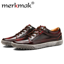 Merkmak Luxury Men Flats Casual Genuine Leather Fashion Lace Up Ankle Design Masculino Shoes Comfortable Footwear Shoes Dropship