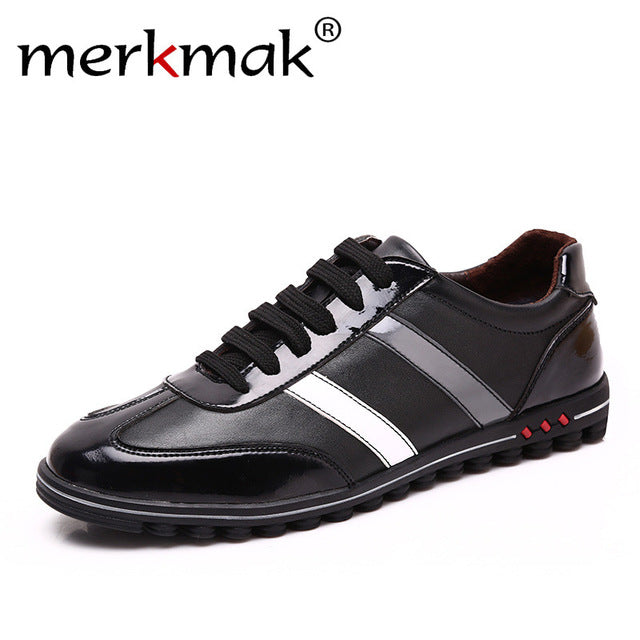 Merkmak 2017 Men's Shoes Fashion Casual Luxury Brand Genuine Leather Male Spring Autumn Breathable Shoes Men Sapatos Masculinos